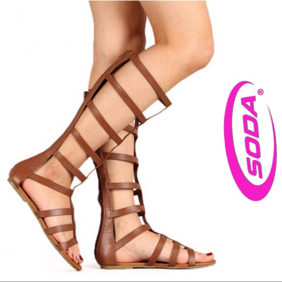 e2094eab536b Soda Brown Tall Gladiator Flat Sandals. M 5b4758a78ad2f9c898befc36